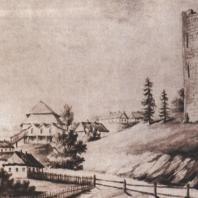 Каменецкая башня, слева — деревянная синагога. Рисунок Н. Орды. 1876