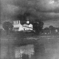 Псков. Вид на реку Пскову и церковь Богоявления с Запсковья 1489 г.