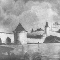 Проект реставрации Кремля (на переднем плане — «решетки» в устье Псковы)