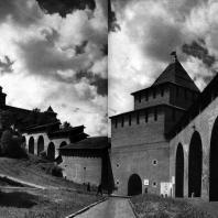 Горький (Нижний Новгород). Кремль. Стена и башни западной стороны. 1500-1512 гг. (после реставрации) Фото А. А. Александрова