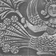 «Птица-сирин». Деталь резной доски с фасада крестьянского дома. Поволжье, XIX в.