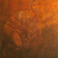 «Встреча Авраамом трех странников». Фреска Софийского собора. Фрагмент. Киев, XI в.