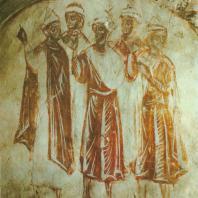 «Племена и языки». Фреска Рождественского собора Снетогорского монастыря. Фрагмент. Псков, 1313 г.