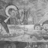 «Положение во гроб». Фреска Преображенского собора Мирожского монастыря. Фрагмент. Псков, XII в.