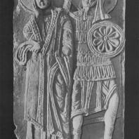 «Иоанн и Лонгин Сотник». Рельеф Георгиевского собора. Юрьев-Польской, XIII в.