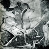 Старая Ладога. Церковь Георгия. «Чудо Георгия о змие». Фреска. 1180-е гг.