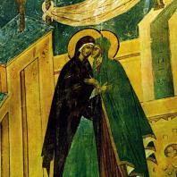 Ферапонтов монастырь. Собор Рождества Богородицы. Встреча Марфы и Марии. Фреска Дионисия. 1500-1502