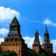 Москва. Кремль. Константиновская, Набатная, Царская и Спасская башни